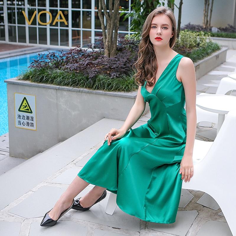 VOA 2017 Summer Sleeveless Sexy Deep V neck Green Silk Nightgown Brief Solid Silky Sleepwear Plus Size Beach Nightdress NLX00601