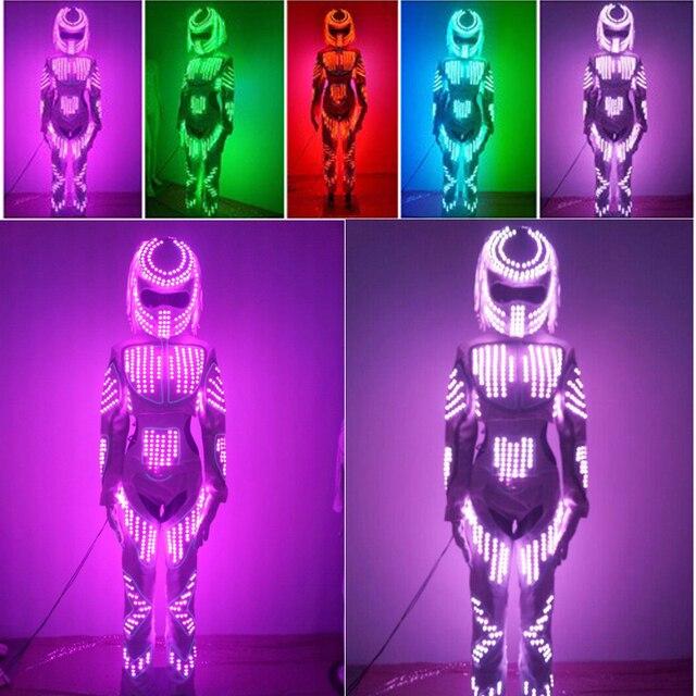 b803c09e US $680.64 10% OFF|Dziewczyny kostium taneczny robota LED luminous świecące  kostiumy do tańca garnitury dla mężczyzn, kobiety, jasny, na odzież ...