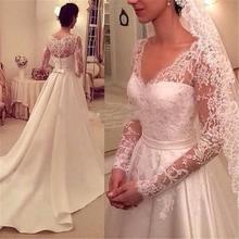 A line Long Sleeve Wedding Dresses V neck White Lace Applique Satin Custom Made Bridal Gowns Backless Elegant 2015 Wedding Dress