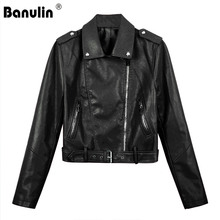 Banulin Motorcycle PU Leather Jacket Women Winter And Autumn New Fashion Coat 3 Color Zipper Outerwear jacket 2019 HOT