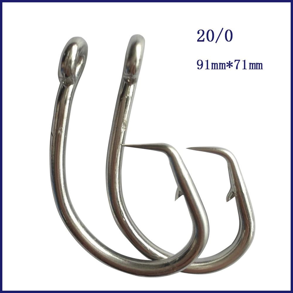 8pcs 20/0 Mustad Tuna წრე Fishing Hook უჟანგავი ფოლადის Tuna წრე Fishing Hook ეკლიანი ეკლიანი თევზაობის