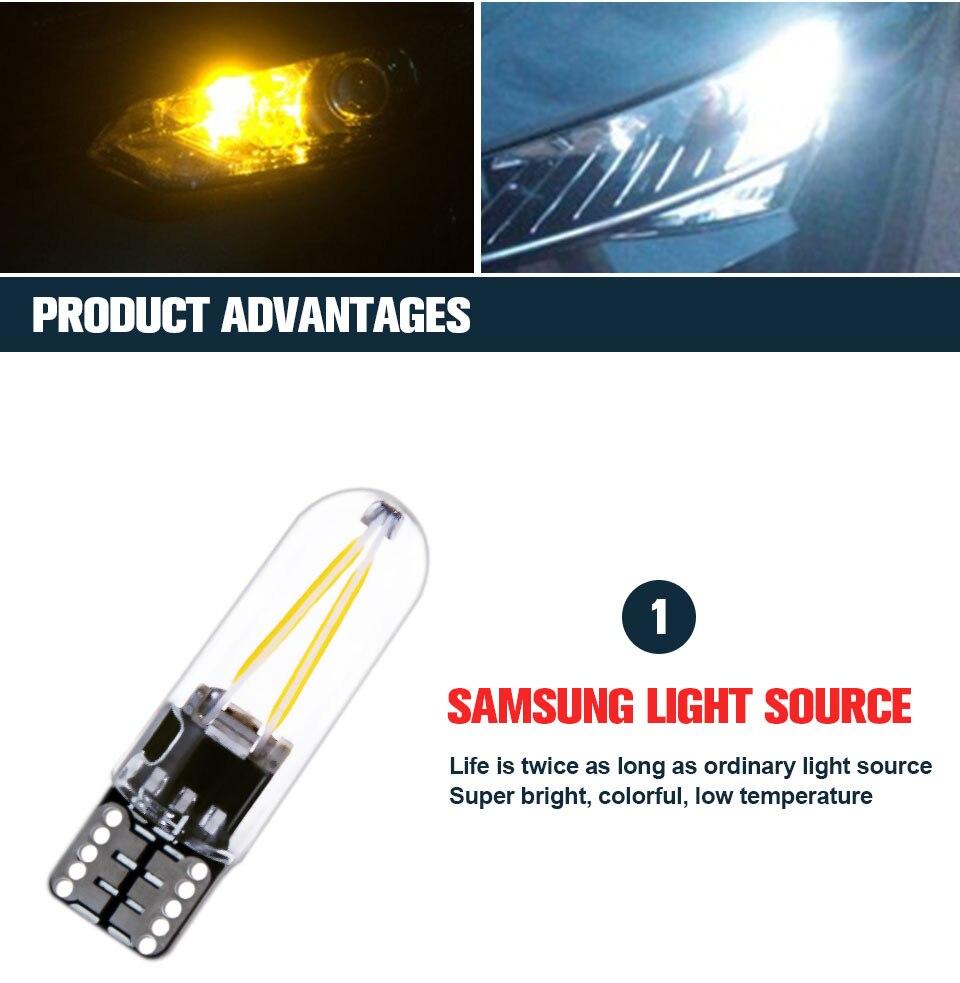 Foxcncar led W5W led T10 cob glass car light Led filament auto automobiles reading dome bulb lamp DRL car styling 12v  (6)