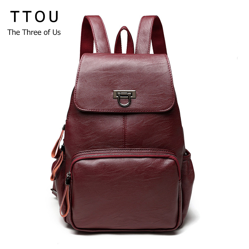 TTOU Designer Women Backpacks Genuine Leather Female Backpack Women School Bag For Girls Large Capacity Travel Backpack Mochila