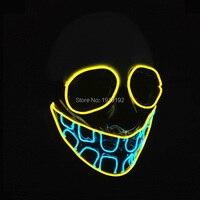 2017 Yeni Cadılar Bayramı Buck diş Maske Yanıp EL tel Parlayan Esnek LED Neon ışık Karnaval masquerade maskeleri Malzemeleri