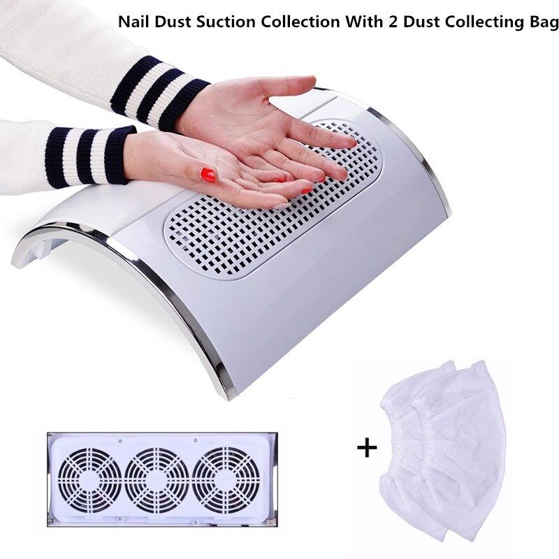 Nail Fan Art Salon Aspiration Collecteur de Poussière Machine Aspirateur Avec 3 Fans + 2 Sacs Acrylique UV Gel Machine nail Collecteur de Poussière