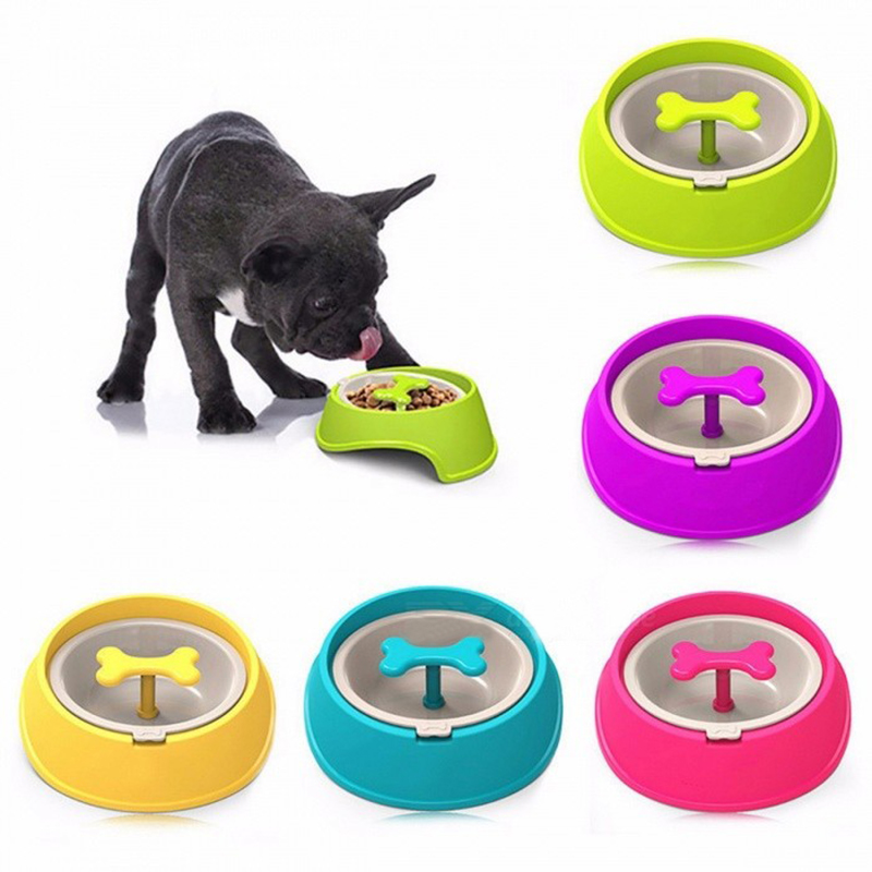 Pet Dog Cat Driking Water Fun Bone Shaped Slow Feeder Dog Food Bowls Water Bowl Dishes For Puppy Small Large Dog Pet Feeding 27