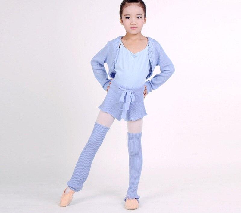 Girls Autumn/Winter Ballet Dance Knit Shorts Ballet Warm Long Sleeved Tops Knitted Leggings 3PCS Suit Warm Up Dance Clothes