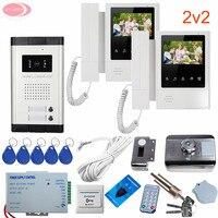 Kablolu Interkom Özel Ev için 4.3 ''Görüntülü Kapı Telefonu interkom sistemi 2 Monitör Sistemi Ünite Görüntülü Interkom + RFID kapı Kilidi