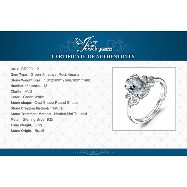 JewelryPalace Classic 1.8ct Natural Green Amethyst White Rock Quartz Solitaire Ring Solid 925 Sterling Silver Fashion Jewelry