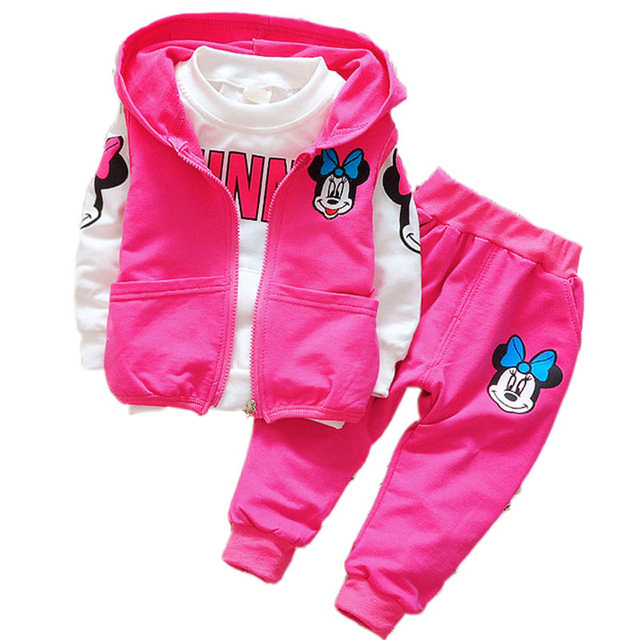 Baby Girls Minnie Mickey Clothing Set Children Spring Autumn 3Pcs Sets Hooded Jacket Coat Vest Pants Suits Kids Cartoon Clothes 1