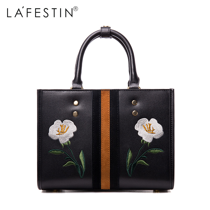LAFESTIN Embroidery Totes Hangbags Real Leather Bag 2017 Fashion Women Designer Bags Crossbody Luxury brands Bag bolsa lafestin luxury shoulder women handbag genuine leather bag 2017 fashion designer totes bags brands women bag bolsa female