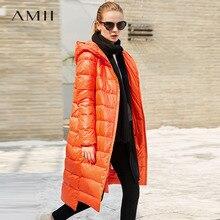 Amii минималистский 2017, женская обувь зима сплошной длинный толстый 90% Белое пуховое пальто Толстовки Женская мода легкая куртка Пальто для будущих мам