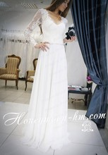 Free Shipping Modern Sheath/Column V Neck Lace Up Back Sweep Train White Full Sleeve Chiffon Wedding Dress Online MF400
