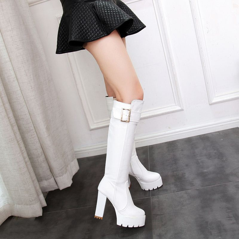 EGONERY fashion 11.5cm Super High Spring winter long knee high riding boots party sexy woman black PU Plush Wedding shoes White-in Knee-High Boots from Shoes    2