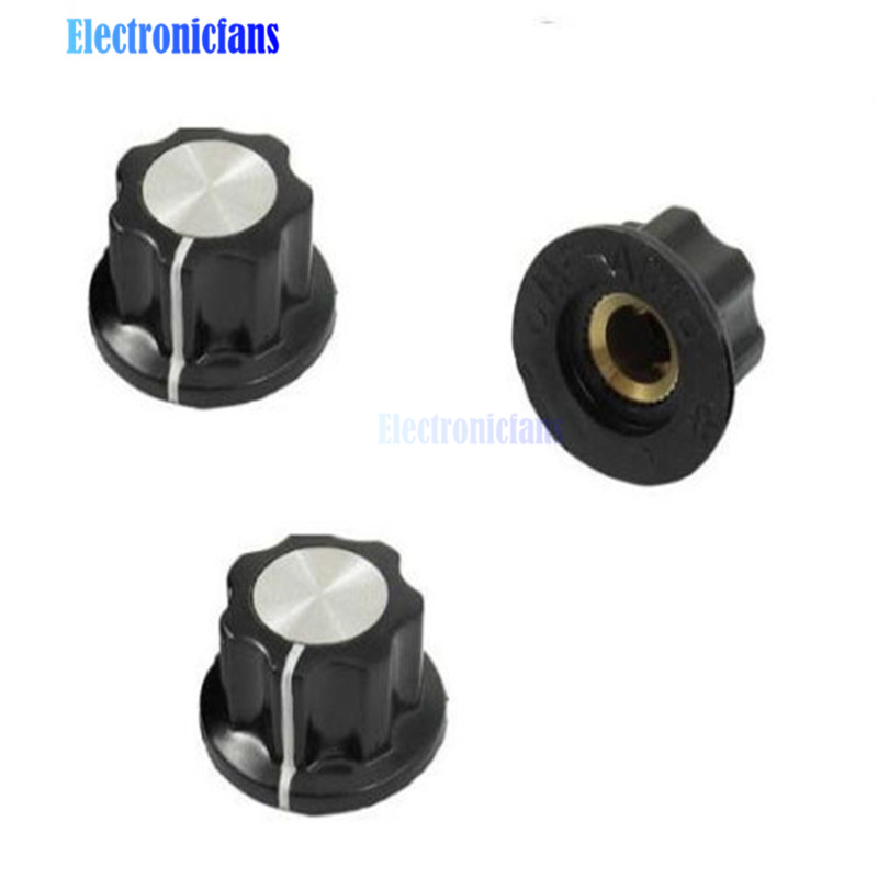 5PCS 16mm Rotary Control Turning Knob For Hole 6mm Dia. Shaft Potentiometer New