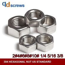 304 316 2#4#6#8#10#1/4#5/16#3/8#1/4#5/16# hexagonal stainless steel nut US standard