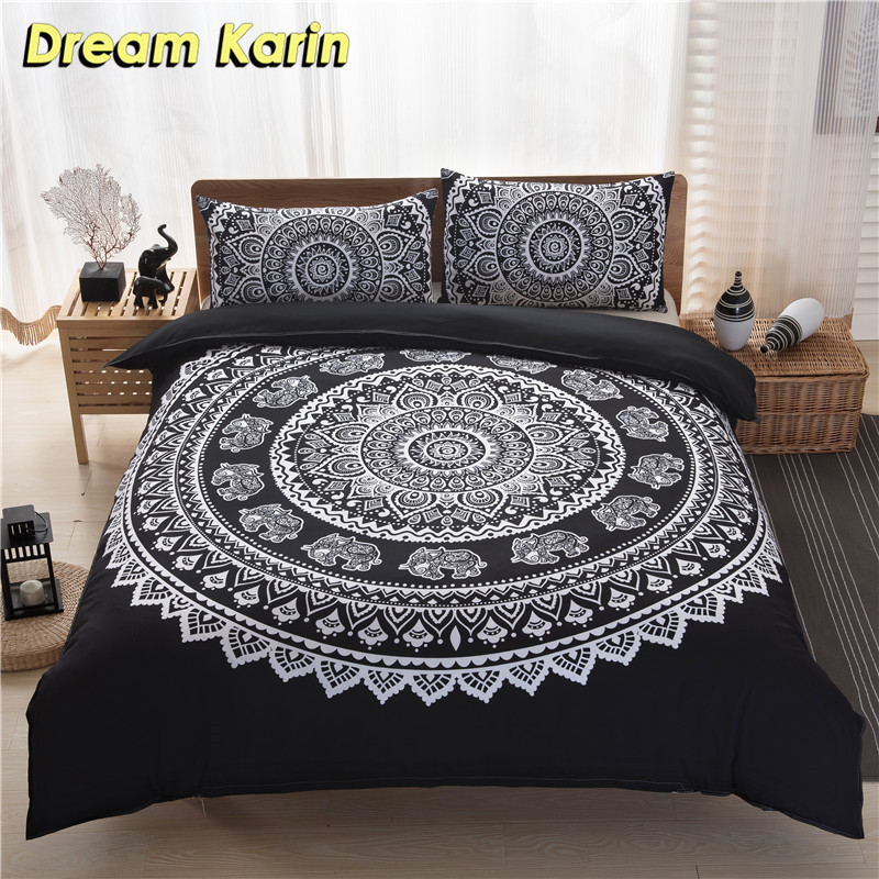 Dream Karin Comfortable Bedding Sets For Adult Bohemian Style Bedroom Polyester Quilt Cover With Pillowcase Home Textile 3PcsDream Karin Comfortable Bedding Sets For Adult Bohemian Style Bedroom Polyester Quilt Cover With Pillowcase Home Textile 3Pcs