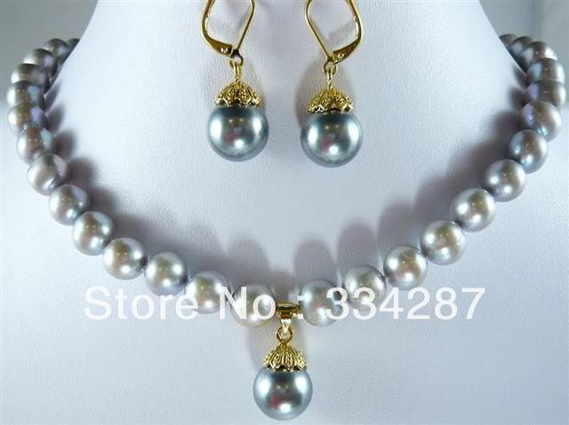 8 9mm Grey Pearl Necklace S Earring Set