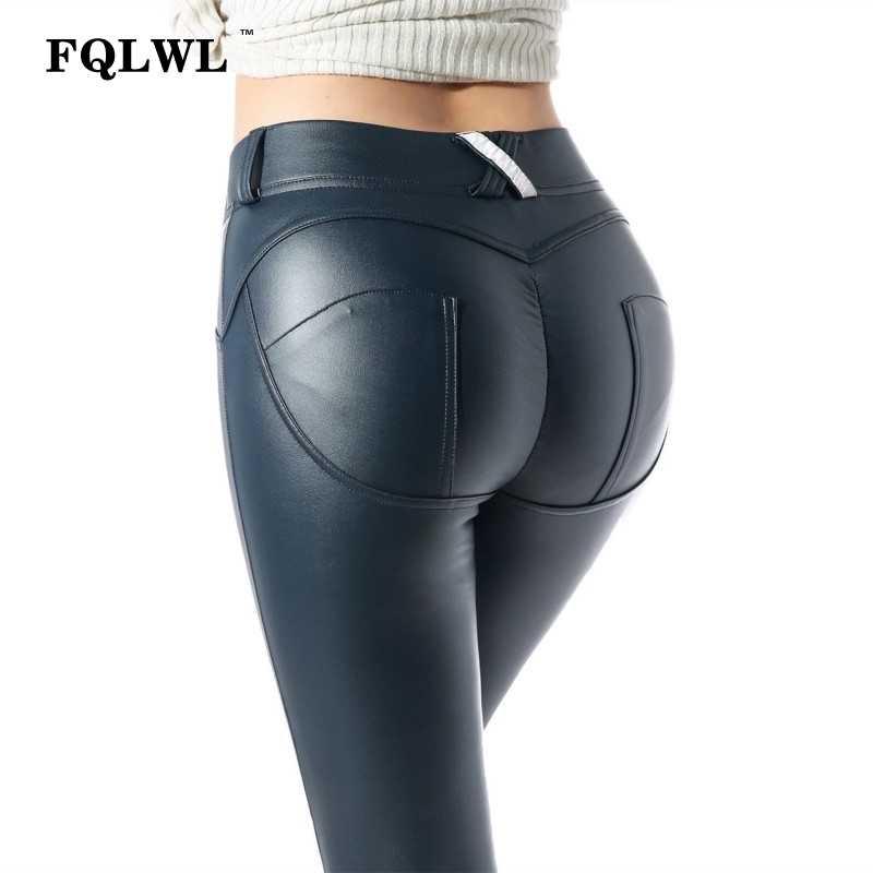 FQLWL Faux Pu Leggings De Couro Grosso/Preto/Push Up/Leggings De Cintura Alta Mulheres Plus Size Inverno Legging sexy Calças Leggins Mulheres