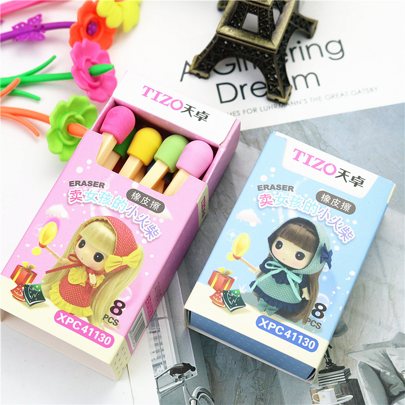 8PCS/BOX Cute Matches  Eraser Color Children's Student Eraser School Stationery Gift
