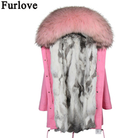 Parkas for women winter outerwear 2017 new fashion natural real rex rabbit fur lined parkas with natural raccoon fur collar