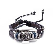 Vintage Cross Punk Beads Handmade Woven Leather Bracelet Bangle For Women Men Jewelry Hip-hop Multilayer Warp Bangle bohemian