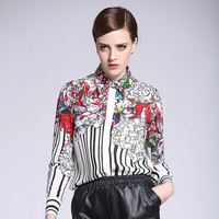 Spring Autumn Elegant Long Sleeve Unique Floral Striped Printed Fashion Casual Shirt 100 Silk Slim Blouse