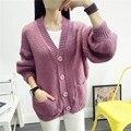 Mujeres Coreanas Ropa Suelta Suéter Femenino de Lana Color Sólido Ocasional Mezclas de Punto de Un Solo Pecho Cardigans Knitwear 2016 SW41