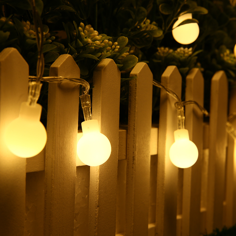 Battery Operated Outdoor String Lights Globe: 40 LED Battery Operated Globe String Lights, Warm White