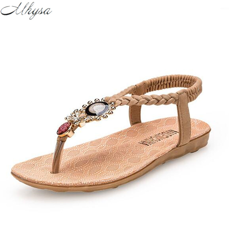 Mhysa 2018 Female Bohemia Women Casual Shoes Sexy Sandals Beach Summer Girls Flip Flops Gladiator Fashion Cute Flats Sandals S50 casual bohemia women platform sandals fashion wedge gladiator sexy female sandals boho girls summer women shoes bt574