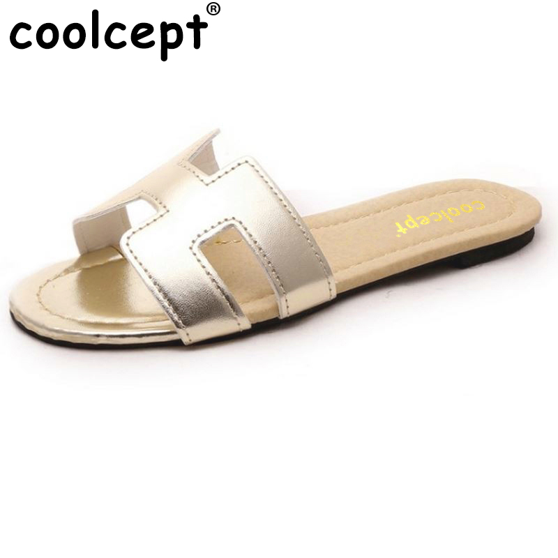 Coolcept flat sandals quality leisure women sandals slippers summer shoes beach flip flops women footwear size 35-40 WB0164 summer leisure slippers slip on round toe comfortable sandals women flat sandals casual flip flops female shoes