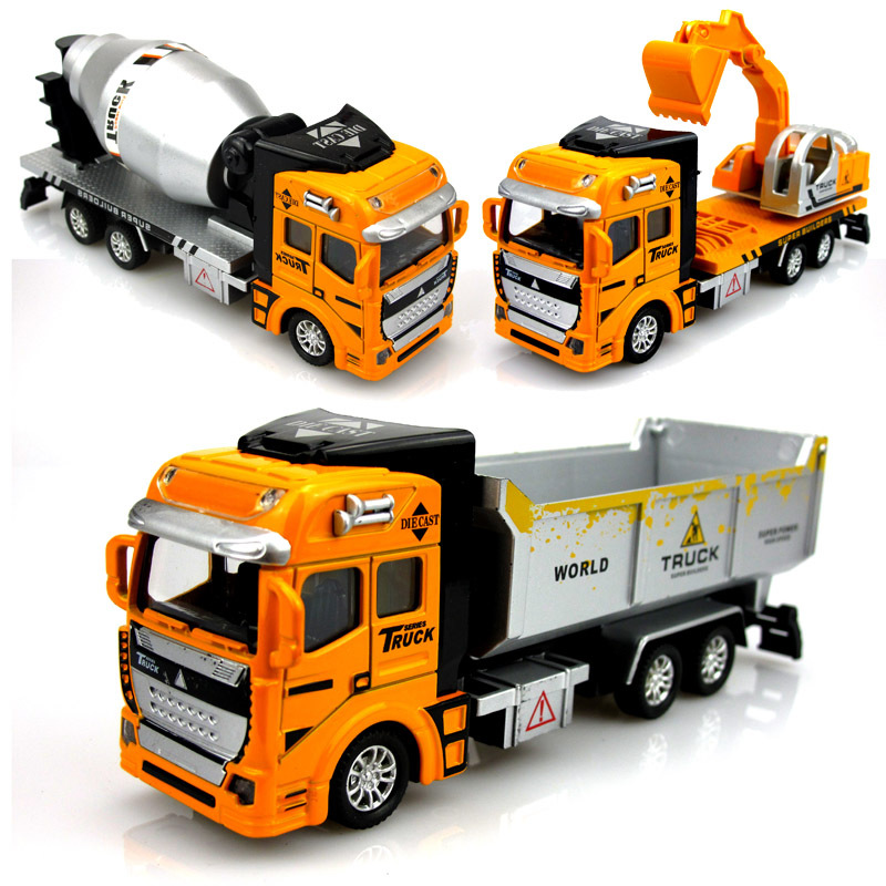 pull back alloy engineering car toys juguetes vehicles building kids toy mixer truck excavator bulldozer car