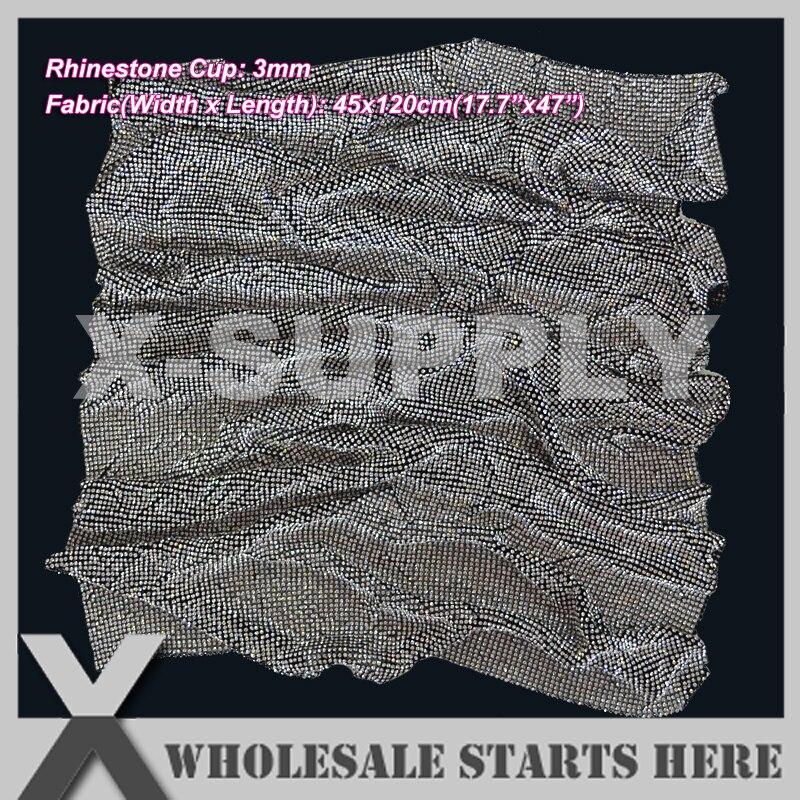 P1 3mm Metal Rhinestone Fabric Mesh Sheet in Black Metal Base Without Iron On Glue Used