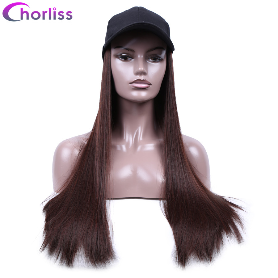 Long Straight Synthetic Wigs For Women 20''Dark Root Natural Full Head Wigs Chorliss Baseball Cap With Wigs Duck Tongue Hat Wigs(China)