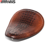 Motorcycle Retro Black/Brown Crocodile Leather Style Solo Seat For Harley xl1200 883 48 72 Sportster Chopper Bobber Custom