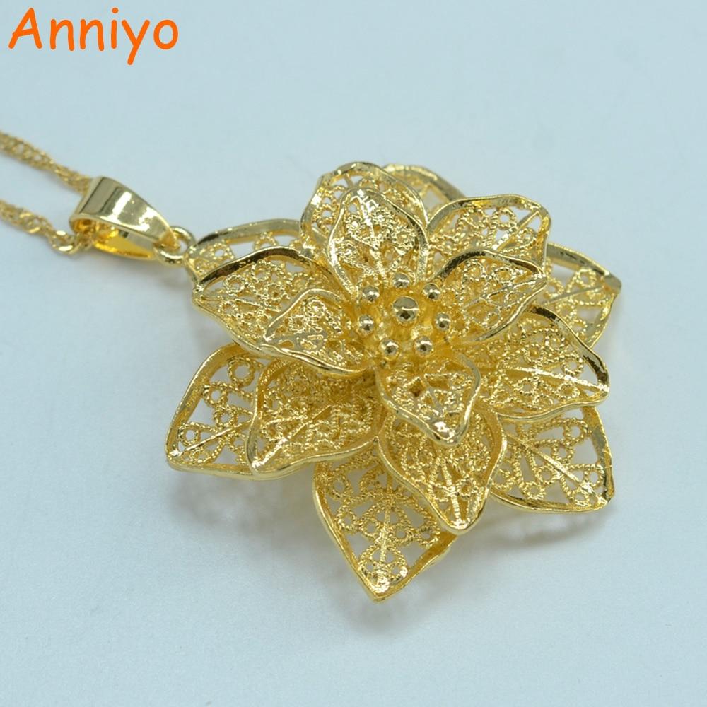 Anniyo Gold Flower Pendant Necklaces Chain For Women Gold