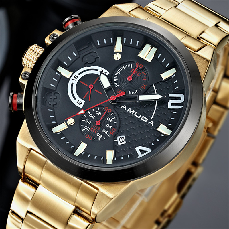 2017 Amuda Golden Watch Luxury Brand Full Steel Chronograph Mens Watches Business Relogio Masculino Quartz-Watch Reloj Hombre