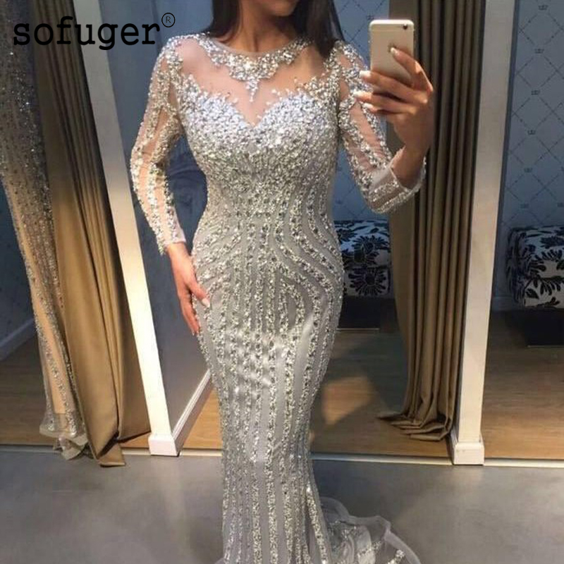 Illusion V-Neck Floor-Length With Belt Mermaid Long SlevessGloden Sequined Pattern Customized Fashionable Formal Dress