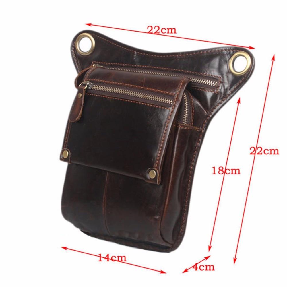 Mænds ægte læder drop ben taske cross body messenger skulder fanny - Bæltetasker - Foto 6