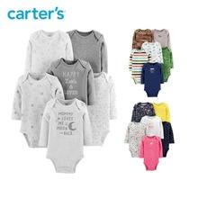 Carters трико ребенок одежда для девочек хлопок Длинные рукава принт боди для новорожденных комплект одежды для маленьких мальчиков на осень-зиму 126H686