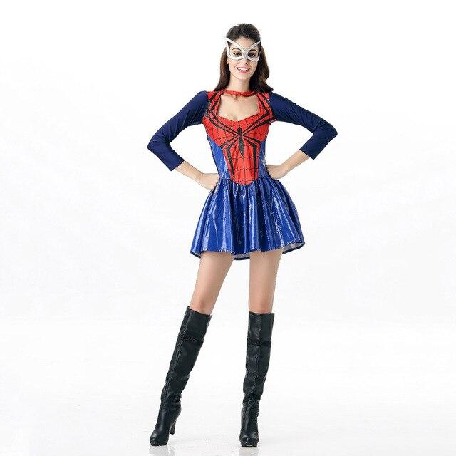 f6da01ed4d4 VASHEJIANG Amazing Spiderman Costume Adult Women Sexy Super Hero Fancy  Cosplay Halloween Supergirl Costumes For Women Sc 1 St AliExpress.com