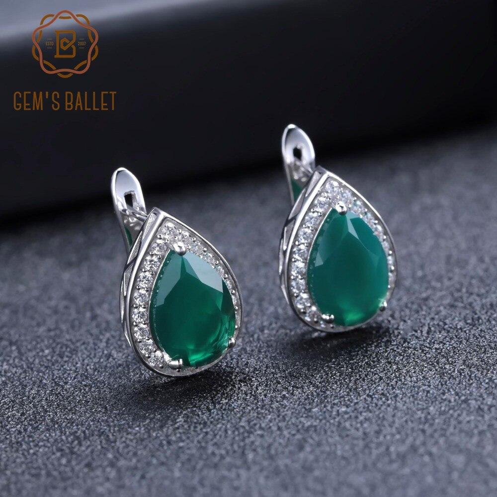 GEM'S BALLET Water Drop 925 Sterling Silver Stud Earrings Classic Natural Green Agate Gemstone Earrings For Women Fine Jewelry