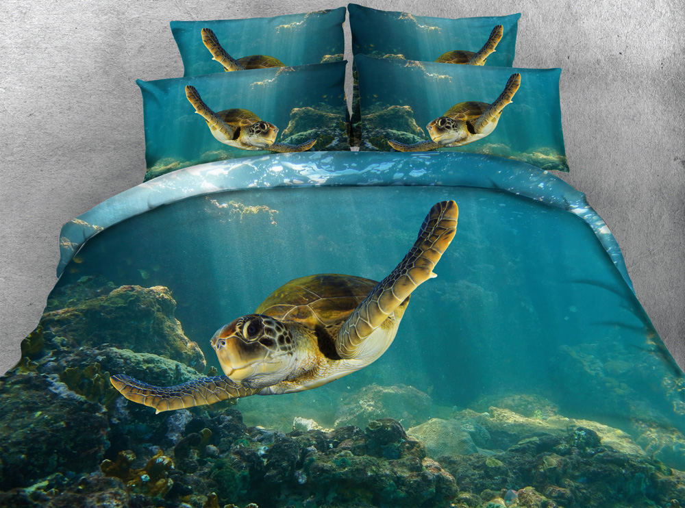 Jf 079 Silky Touch Fabric Green Sea Turtle 3d Bedding Sets