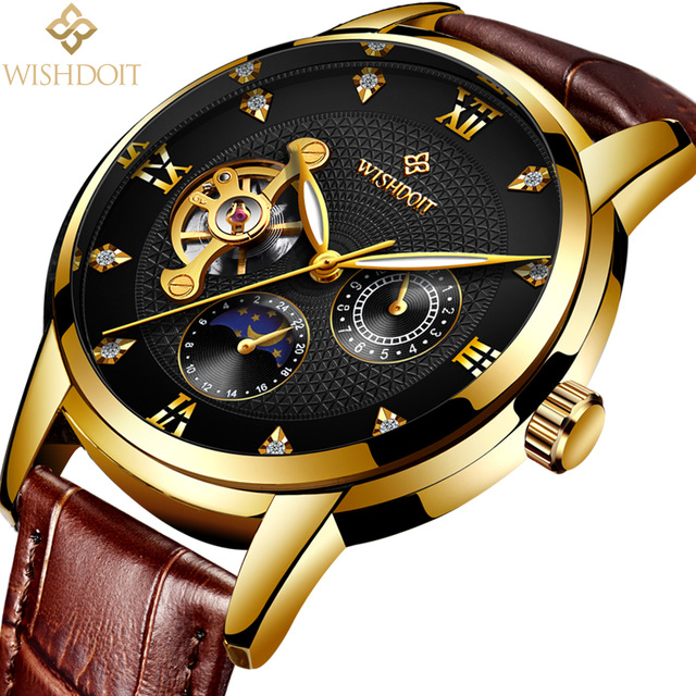 Leather Skeleton Automatic Mechanical Sports Wristwatch  Erkek Kol Staati
