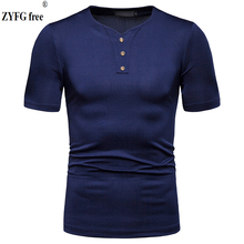 Youth Summer Cotton Polyester Blend v-neck Short Sleeve T-Shirt Solid Color Casual Tops t-shirts Slim Shirt Mens T-Shirts