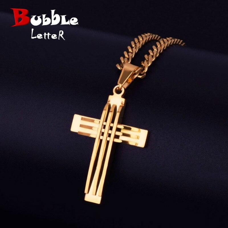 Best Gift Men blue cubanjesus cross Stainless Steel Cross Pendant Necklacechain