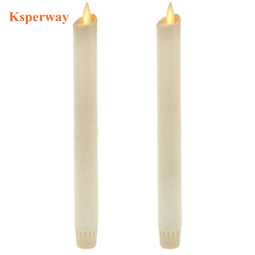 Ksperway Set of 2 Flameless Moving Wick LED Taper Candles Paraffin Wax with Timer and Remote for Home Decoration