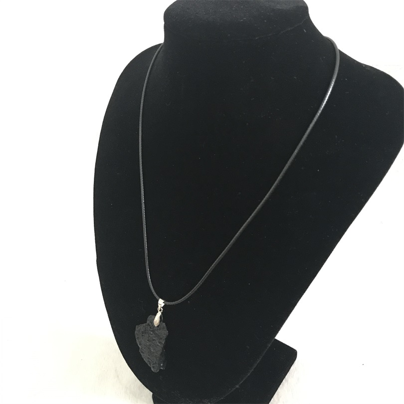Irregular natural gem stone black aerolite necklace freeform flat irregular natural gem stone black aerolite necklace freeform flat back meteorite pendant necklace jewelry design can customize in pendant necklaces from aloadofball Image collections