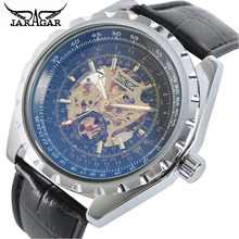 лучшая цена JARAGAR Brand Luxury Men Gold Hollow Skeleton Mechanical Watch Male Automatic Genuine Leather Military Watch Men's Wristwatches