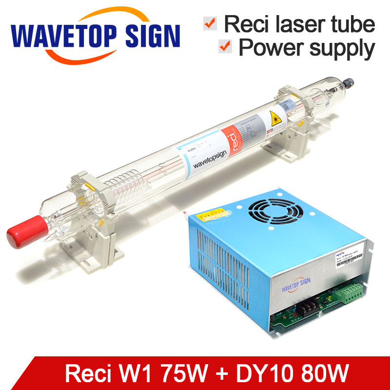 цена на RECI Laser tube W1 75w + Laser Power Supply DY10 CO2 Laser Tube 80w length 1050mm diameter 80mm use for co2 laser mark machine